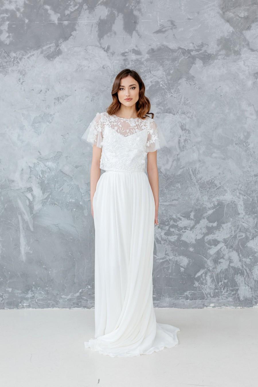 Mariage - Chiffon Bridal Skirt, Maxi Wedding Skirt, Bridal Separates, Ivory Chiffon Wedding Skirt for Bride, Long Wedding Skirt with Train - AUGUSTE
