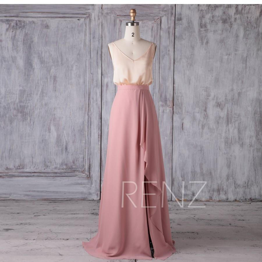 Mariage - Separate Bridesmaid Dress Champagne Spaghetti Strap Satin Chiffon Top Dusty Rose Ruffle Chiffon Skirt Two Pieces Slit Evening Dress(H620)