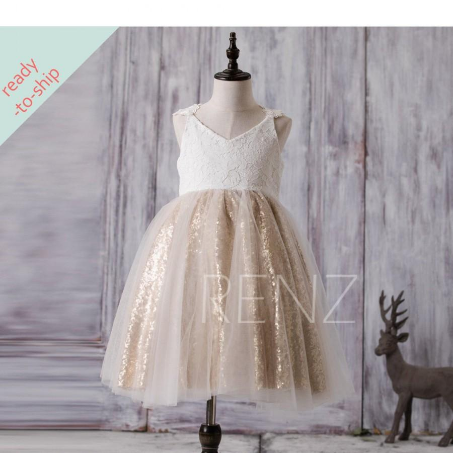 Mariage - Flower Girl Dress Off White Junior Bridesmaid Dress Golden Sequin Baby Party Dress Lace Tutu Dress V Neck Girls Dress Ready-to-Ship - FK291