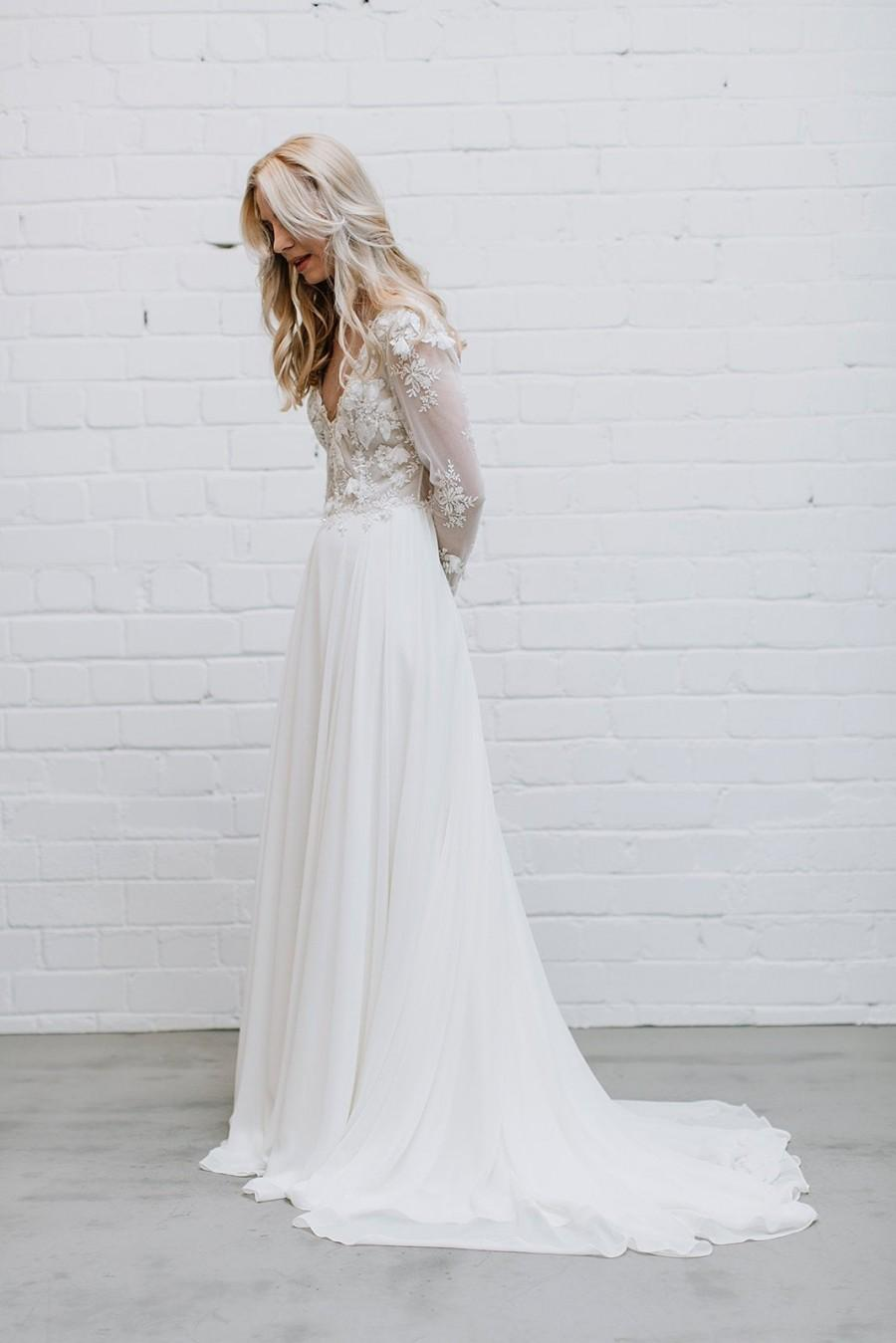 Hochzeit - CHARLOTTE - Ivory Lace Wedding Dress with Maxi Chiffon Skirt and Train,  Long Sleeve Wedding Dress with Open Back and Deep V Neckline
