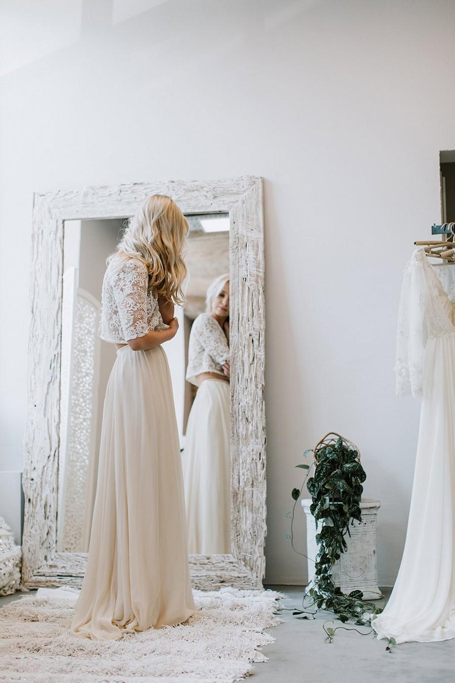Hochzeit - Chiffon Bridal Skirt, Silk Wedding Skirt , Maxi Silk Skirt , Lightweight Champagne Colour Bridal Skirt, Silk Chiffon Wedding Skirt - INNES