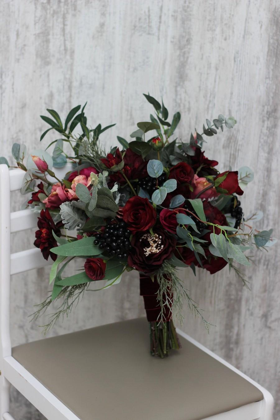 زفاف - Burgundy flowers Bridal bouquet Faux bouquet Fall wedding Peony eucalyptus Wedding flowers Silk flowers Boho wedding Outdoor  - size 18 inch