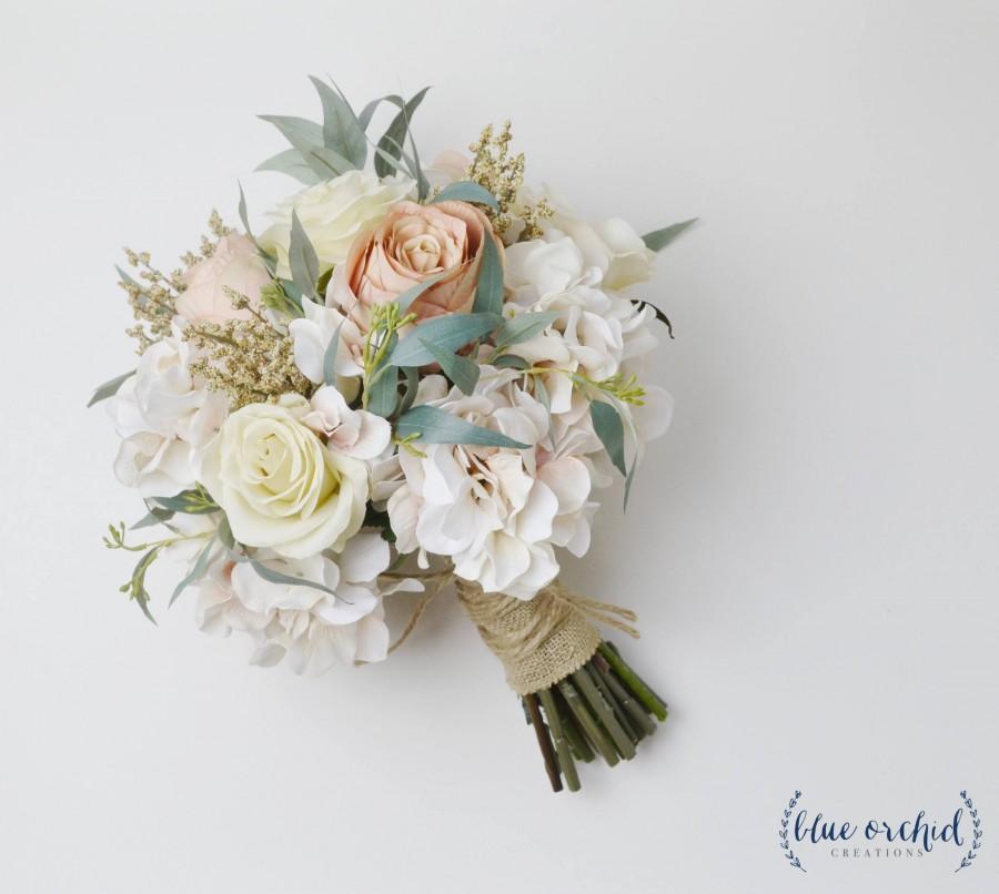 Hochzeit - boho bouquet, bridal bouquet, wedding bouquet, wedding flowers, fall wedding bouquet, silk bouquet, beige, white, eucalyptus, rustic bouquet