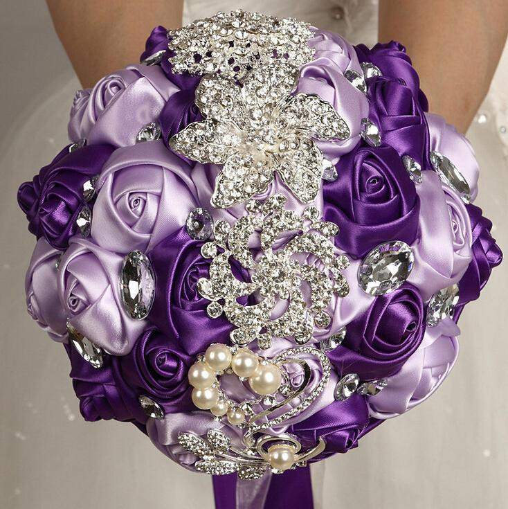 Hochzeit - Lavender Purple Mixed Satin Rose Bouquet Crystal Rhinestone Bridal Bouquet Bridesmaid Bouquet Brooch Bouquet Wedding Flowers