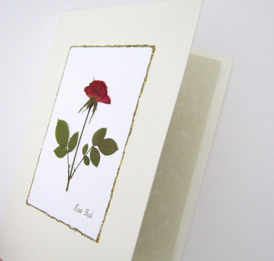 Hochzeit - Pressed Flower Card - Rose Card, Romantic Card, Wedding Card, Birthday or Anniversary Card, Real Red Rose, All Occasion Card