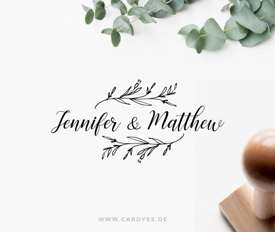 Hochzeit - Wedding stamp with names, Custom wood stamp, Wedding Logo for DIY wedding
