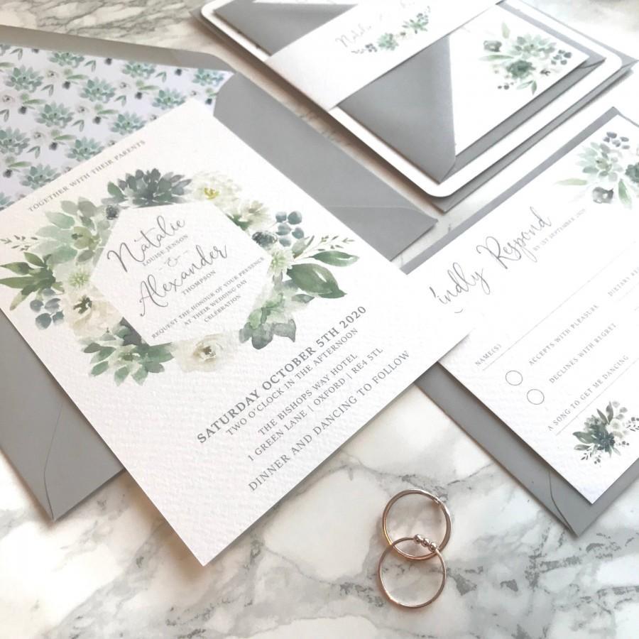 Hochzeit - Wedding Invitation - Green Rose Garden Invitations with RSVP Belly Band Suite - SAMPLE wreath rustic floral flower White Grey invites set