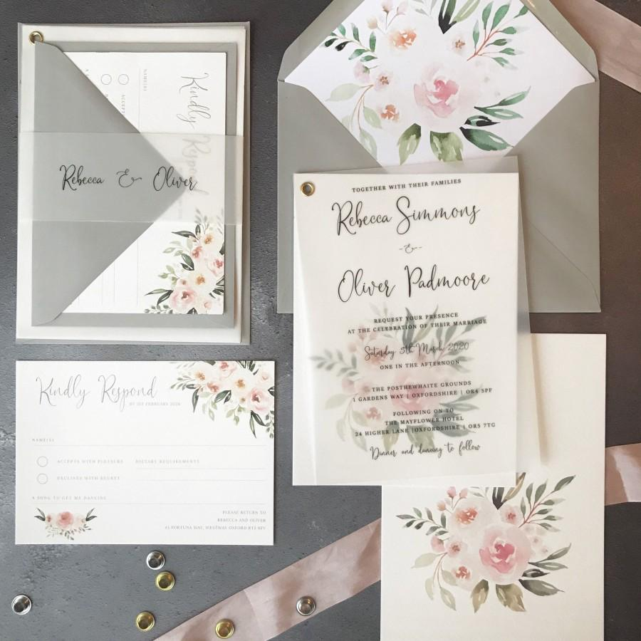Hochzeit - Vellum Wedding Invitation - Floral pink invitations Invites / Wedding Set Suite / Clear Flower Grey / Sample / RSVP Envelopes invites