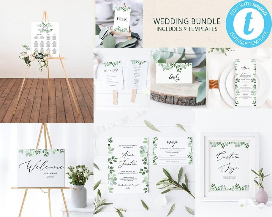 Hochzeit - Eucalyptus Wedding Stationary Bundle, Welcome Sign, Custom Sign, Invitation & RSVP, Table Number, Seating Chart, Menu, Name Card and Program