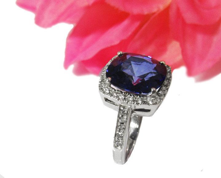 Wedding - Sapphire Cluster Ring Diana Ring Sapphire Ring 8 carat Engagement Ring September Birthstone Sapphire Gemstone Ring Sapphire Jewelry