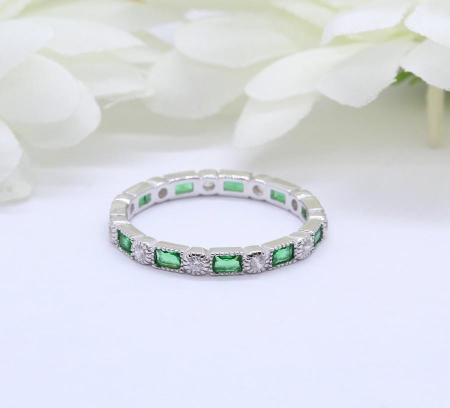 Hochzeit - 3mm Art Deco Band Ring Baguette Simulated Emerald Round Diamond CZ Solid 925 Sterling Silver Eternity Band, Anniversary Wedding Alternating