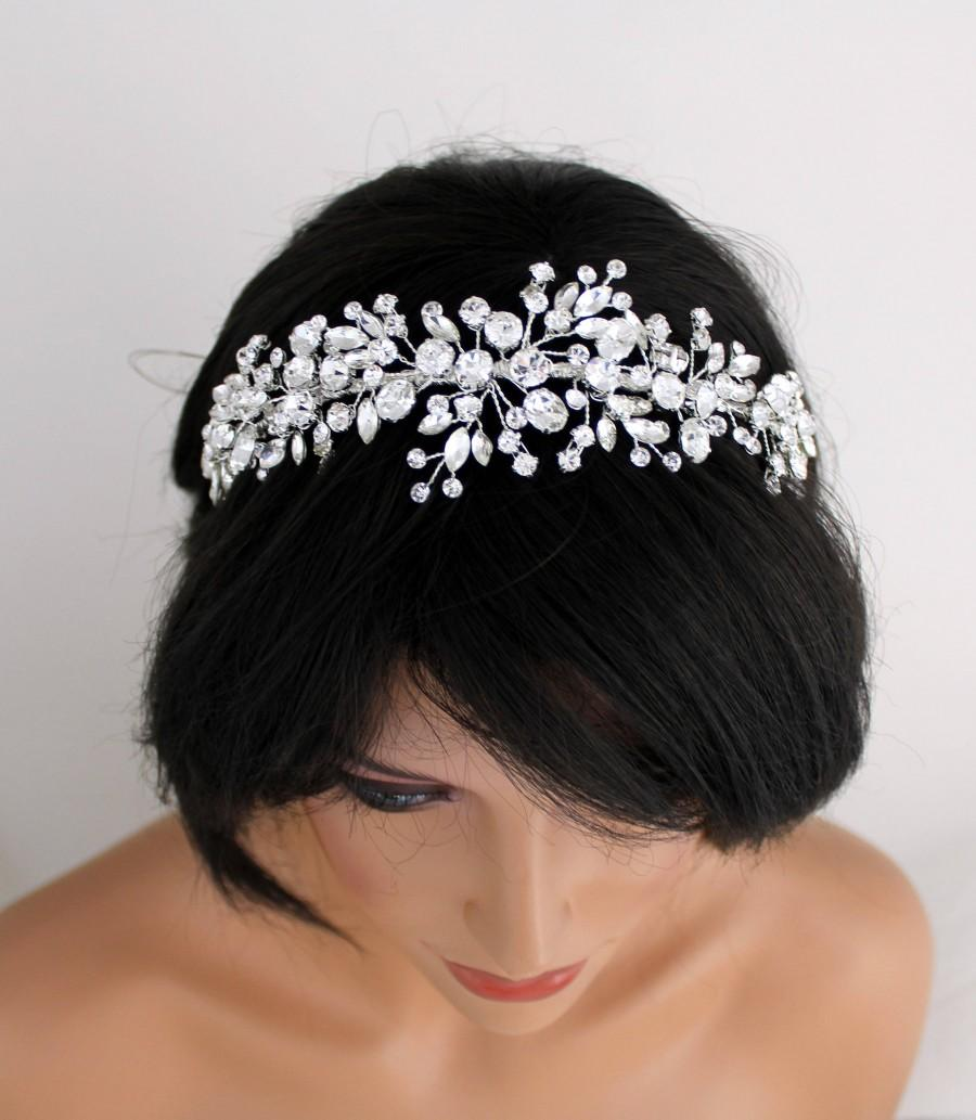 Hochzeit - Bridal headband Bridal hair vine Rhinestone headband Wedding hair accessories Bridal tiara Crystal tiara Silver hair vine Bridal Headpiece