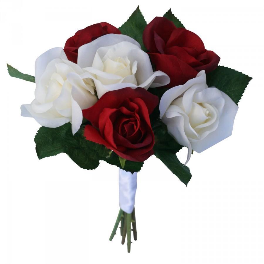Свадьба - Red & Ivory Silk Garden Rose Stems- artificial wedding bouquets - fake wedding flowers (small)