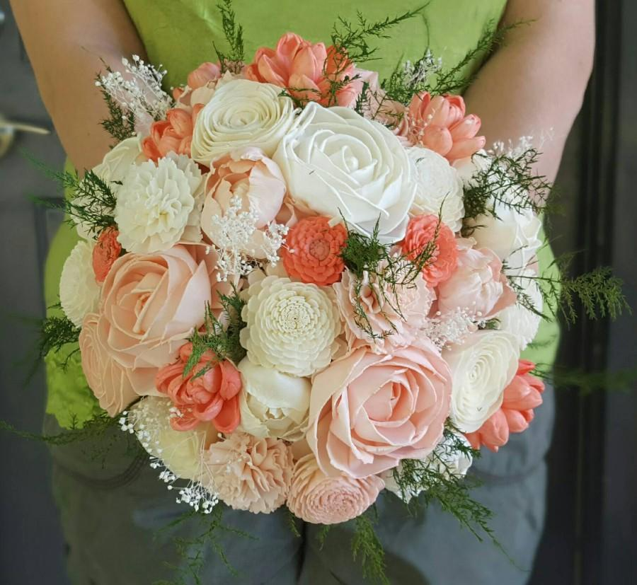 Свадьба - Coral and Blush Sola Wood Flower Bouquet with Evergreen