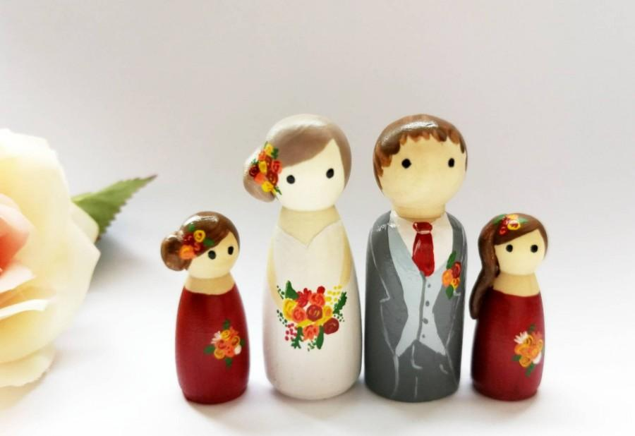 Mariage - Personalised Wooden Wedding Cake Toppers, added glass cloche option