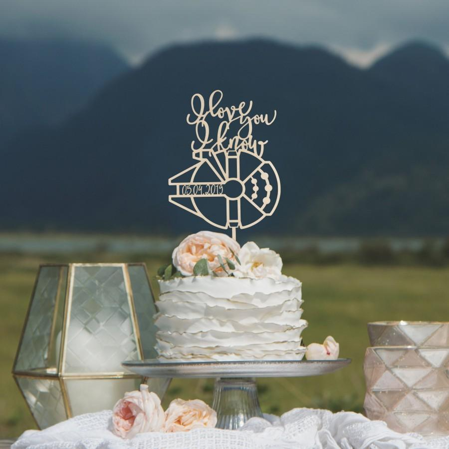 Wedding - I love you I know cake topper, Star Wars inspired wedding cake topper, Geek wedding cake topper,  Star Wars inspired wedding decorations