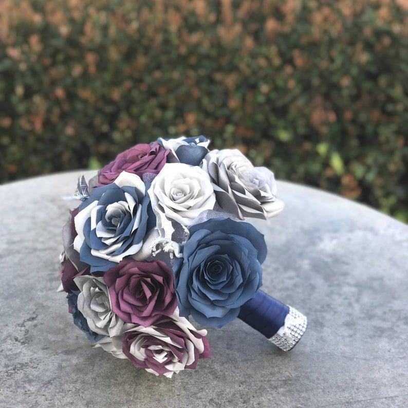 Wedding - Dragon Bouquet shown in plum, silver & navy blue paper roses - Customizable colors