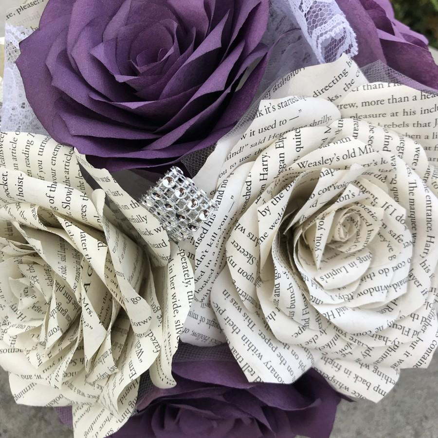 Wedding - Paper book page and filter paper rose wedding bouquet shown in shades of purple - Colors are customizable