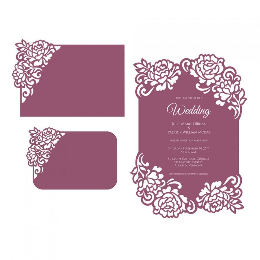 Mariage - Floral lace edge laser cut Wedding Invitation Card template 5x7 Peonies Vector DXF SVG PLT files, Silhouette Cameo, Cricut cutting machines