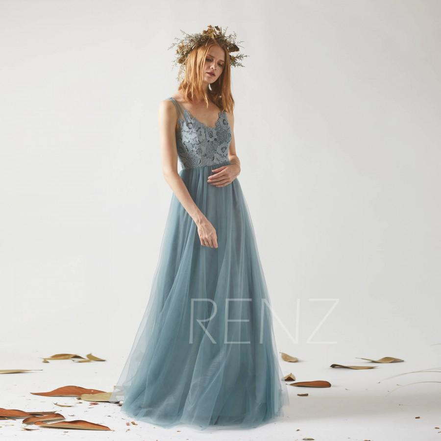 Mariage - Bridesmaid Dress Dusty Blue Tulle Dress Wedding Dress Illusion V Neck Maxi Dress Backless Party Dress Lace Applique Evening Dress(LS361)