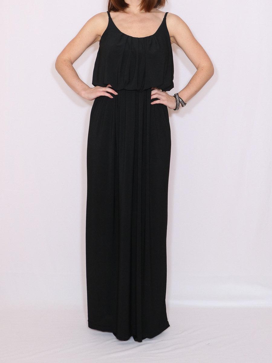 Mariage - Black bridesmaid dress Long black dress Maxi dress Custom made clothing