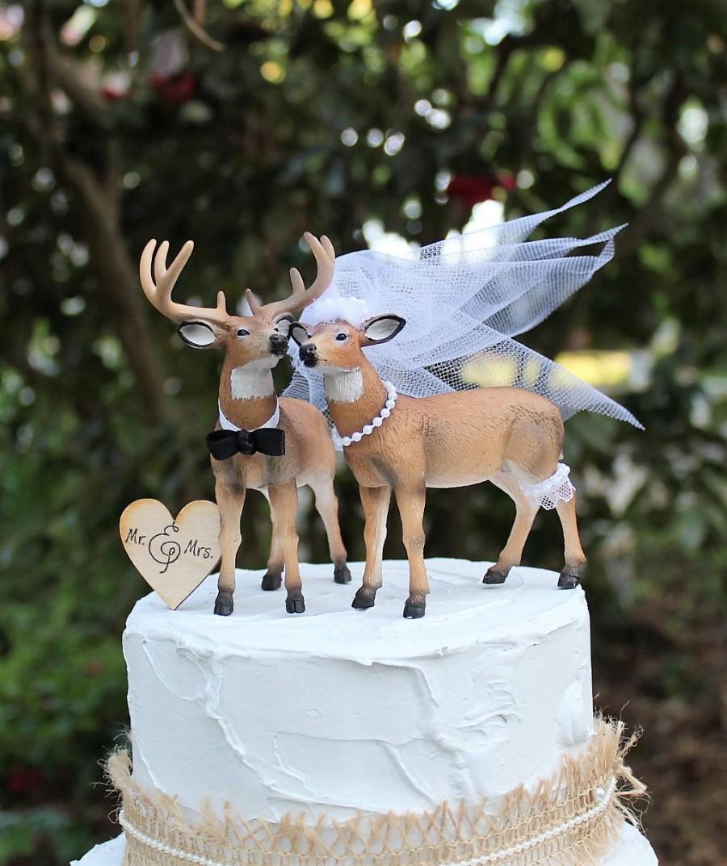 Свадьба - Deer Wedding Cake Topper, Hunting Wedding Cake Topper, Buck and Doe Cake Topper, Bride and Groom Cake Topper Wedding Cake, Wedding Decor,