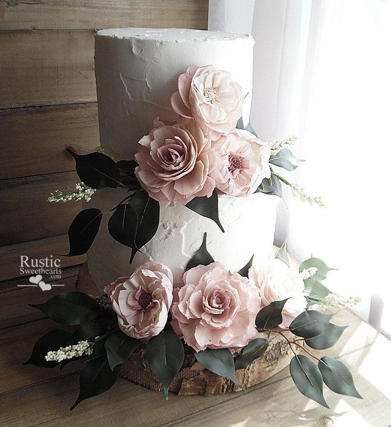 Mariage - Light Dusty Rose Cake Flowers ~ Set of 6 Loose Sola Flowers with Matching Loose Greenery ~ Matches the Cottage Rose Collection in Dusty Rose