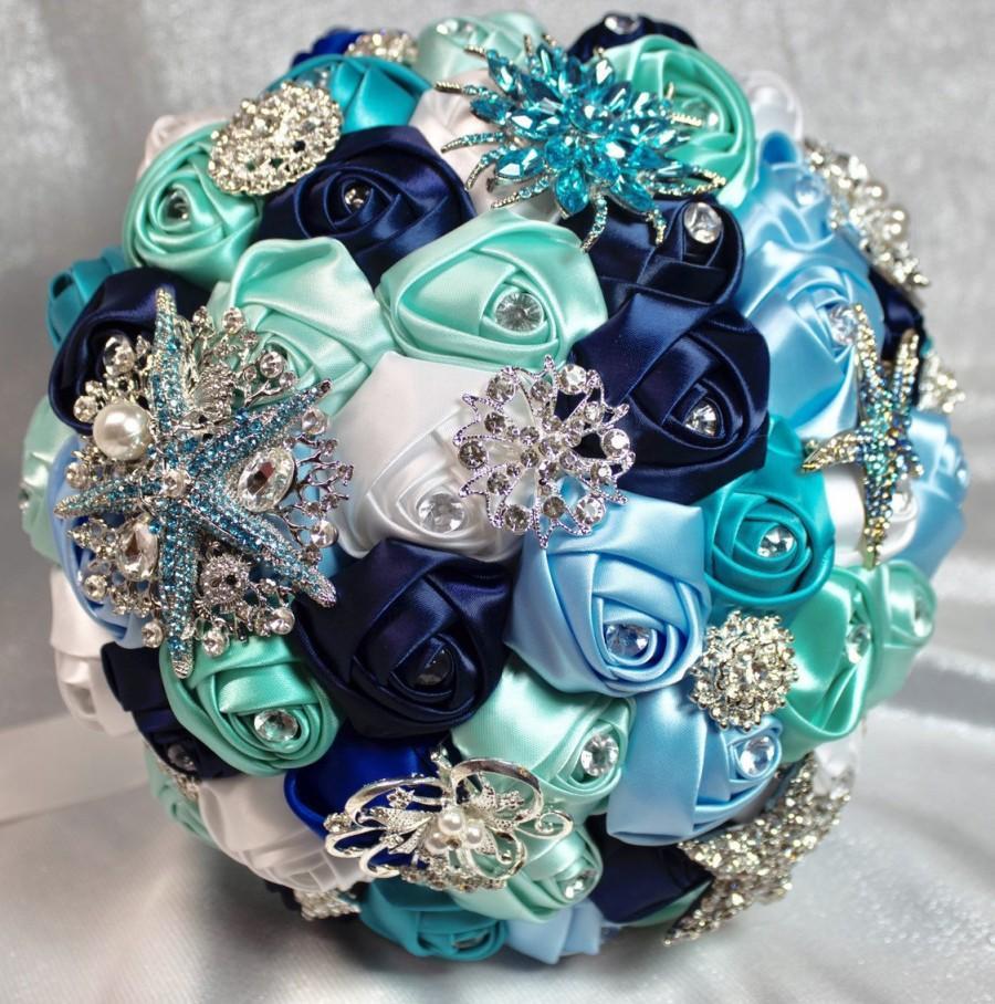 Mariage - Brooch Bouquet, Beach Wedding Bouquet, Beach Brooch Bouquet, Wedding Bouquet, Something Blue