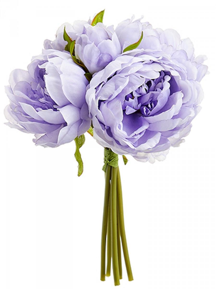 زفاف - New Artificial 9.5″ Peony Bouquet x 5 Lavender, Lavender Wedding Bouquet, Lavender Wedding Flowers