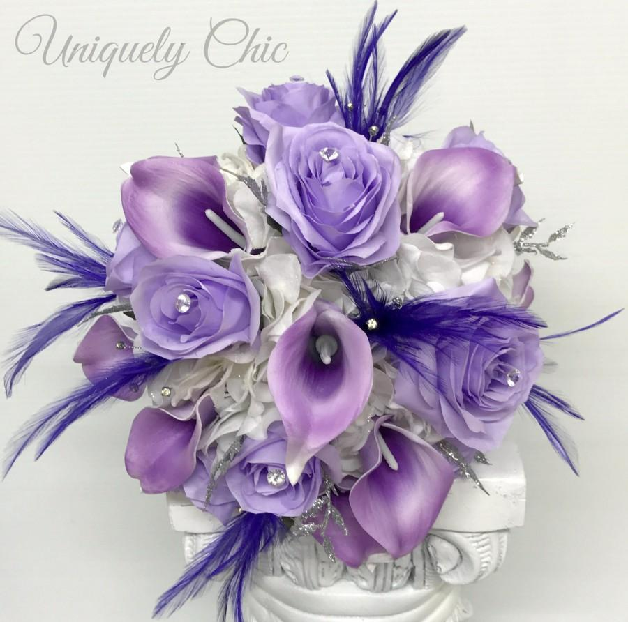 Mariage - Wedding bouquet, Bridal bouquet, Purple lavender Rose bouquet, Roses calla lilies with feathers and silver Bling bouquet