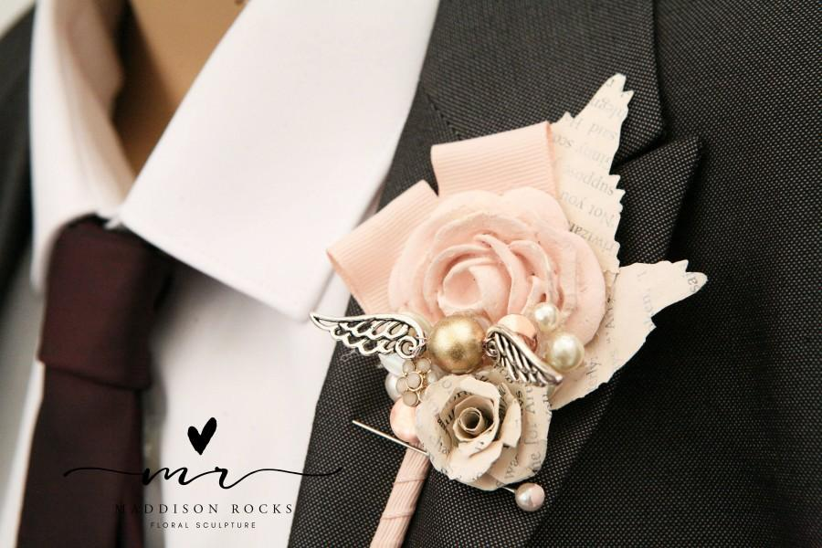 Свадьба - X1 Harry wizard wedding, fantasy, golden snitch,  alternative, quirky, buttonhole, boutonnière, paper flower, corsage shabby chic