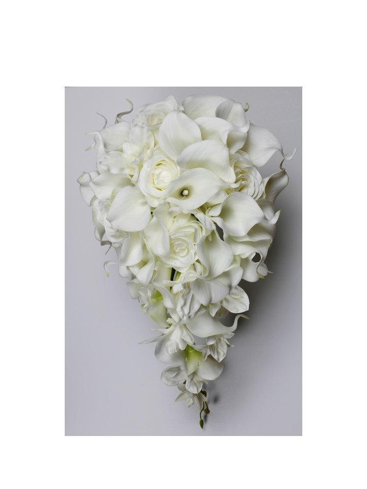 Mariage - Cascade Wedding Calla Lily Bouquet Off White Bouquet Bridal Bouquet Real Touch White Calla Lily Bridal Bouquet Wedding