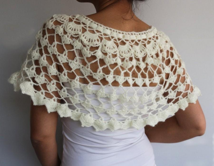 Wedding - Ivory Cream Bridal Cape Shrug, Bridesmaids Shawl Stole Gift, Shiny Crochet Bolero, Lace Top Dress Cover-up Winter Wedding Made to Order