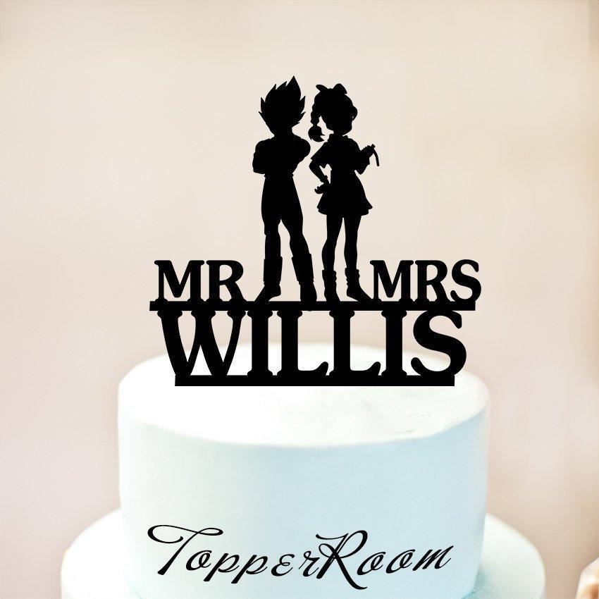 Свадьба - Vegeta & Bulma Cake Topper, Wedding Cake Topper, Silhouette Wedding Cake Topper Custom Name, Bride and Groom Cake Topper  (1230)