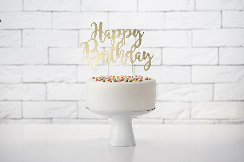 Wedding - Gold Happy Birthday Cake Topper, Gold Happy Birthday, Gold Cake Topper, Trendy Cake topper