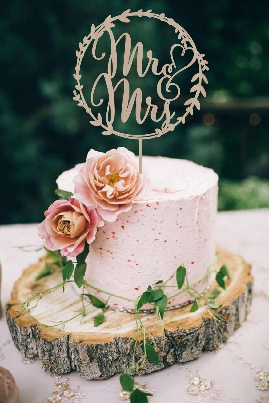 Mariage - Wedding Cake Topper Mr end Mrs,  Rustic Wedding Cake Topper, Wodden Cake Topper,  Wood Cake Topper Golden or Silver Wedding Topper