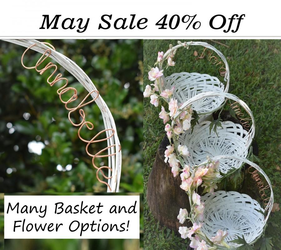 Mariage - Flower Girl Basket Personalized - Vintage Look - Real Copper Wire - Rustic Garden Beach Wedding