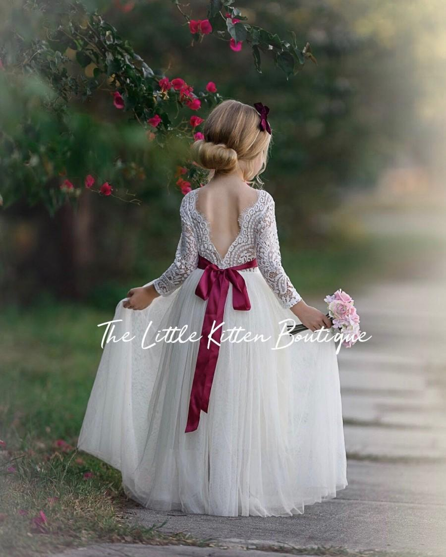 Wedding - tulle flower girl dress, lace flower girl dress, Rustic flower girl dress, Ivory flower girl dress, boho, wreath headband, junior bridesmaid