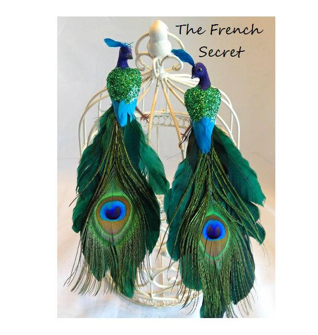 Hochzeit - Peacock Cake Topper Wedding Decoration Centerpiece Decor Woodland Rustic Bride Groom Birds Chic Love Birds Shabby