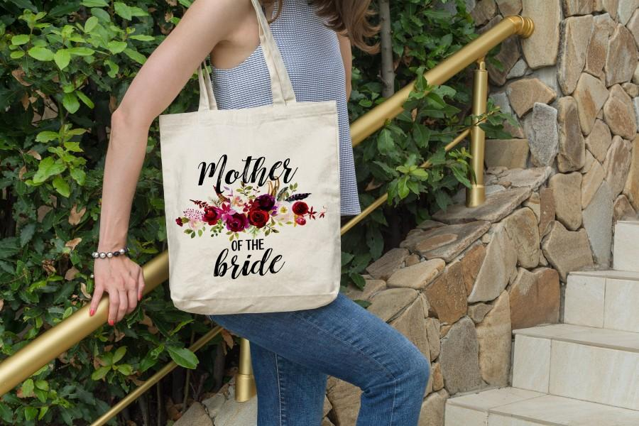 زفاف - Mother of the Bride Tote Bag, Engagement Announcement Gift, Personalized Mother of the Bride Canvas Bag, Mom Carry All, Wedding Day Tote