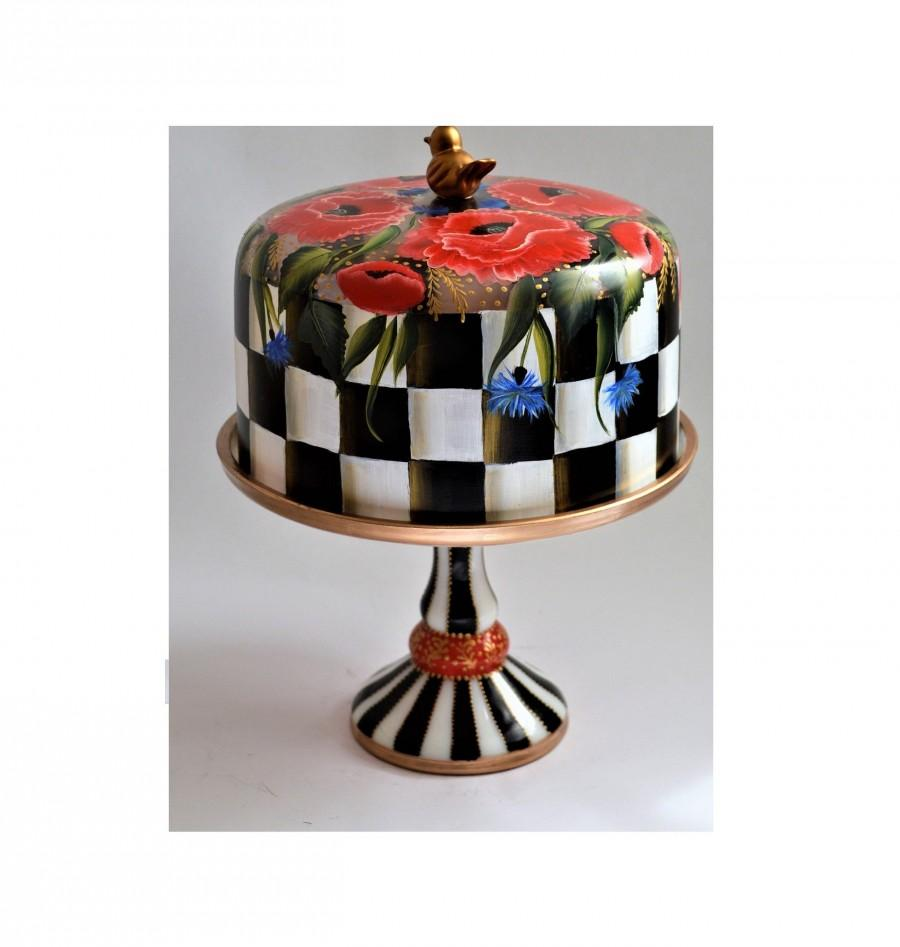 Hochzeit - Whimsical custom Hand Painted cake stand. Red poppy  custom cake stand. MacKenzie childs inspired. SPECIAL ORDERS !!!
