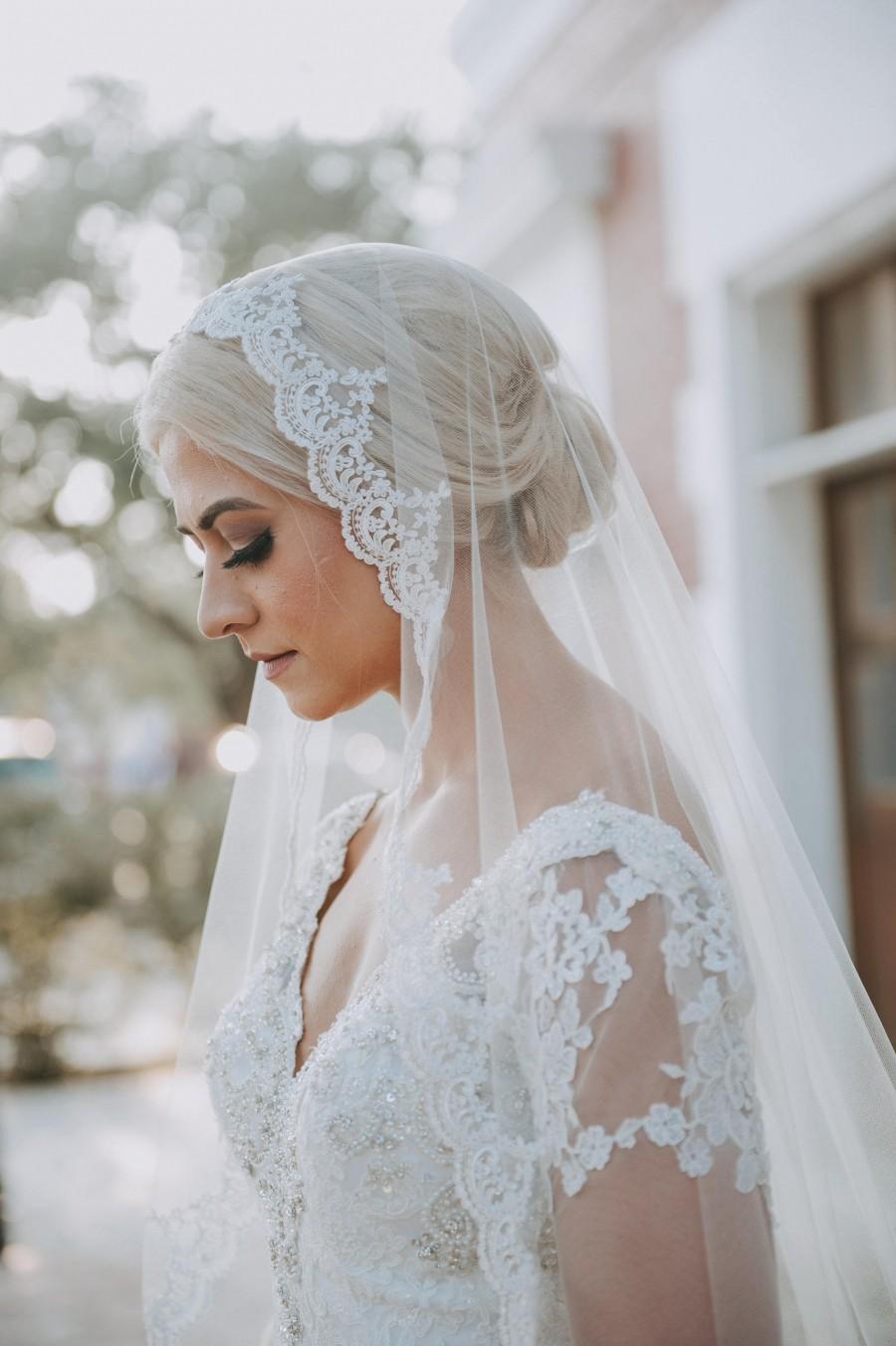 Mariage - Mantilla Lace Wedding Veil