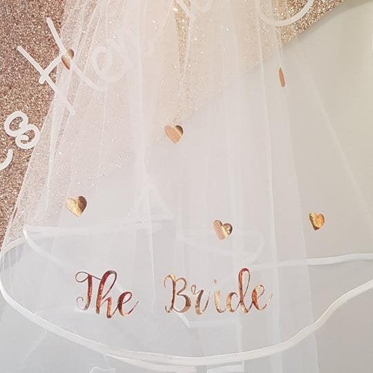 Hochzeit - Bachelorette Veil - Bridal shower veil rose gold love heart shimmer veil - hen party - bride to be - brides veil - rose gold bride
