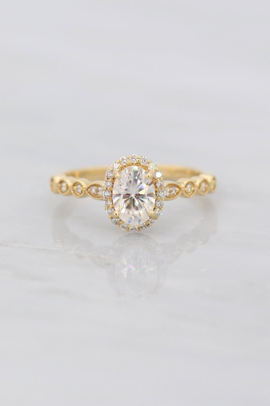 Свадьба - Moissanite Engagement Ring, Forever One Moissanite Ring, Near Colorless Moissanite Ring, Oval Cut Moissanite Ring, Charles and Colvard