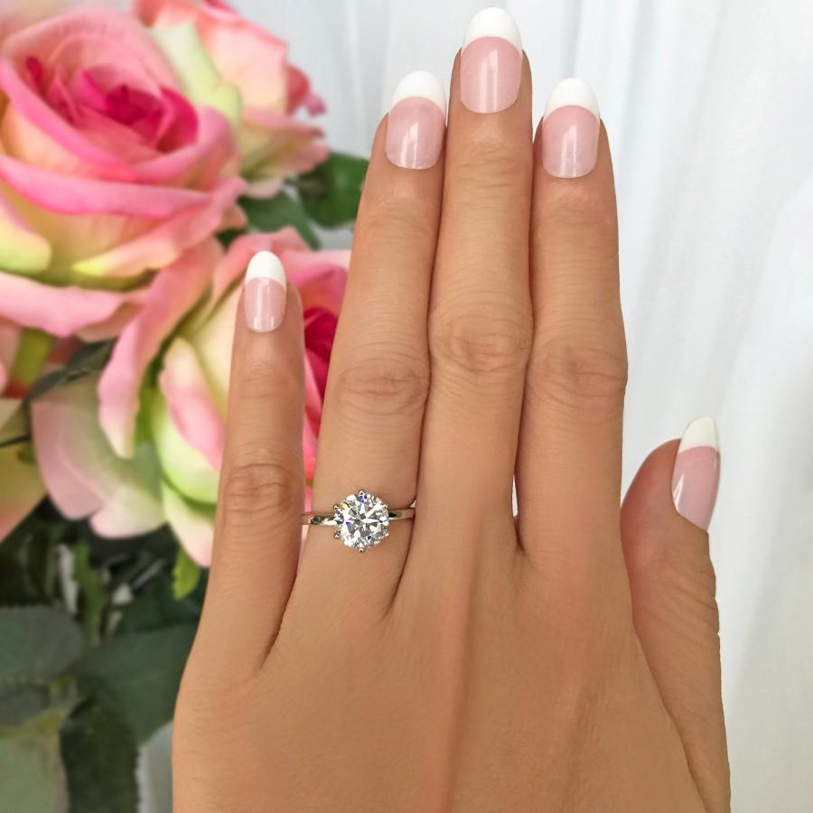 Mariage - 2 ct Stacking Solitaire Ring, 6 Prong Round Engagement Ring, Man Made Diamond Simulant, Wedding Ring, Anniversary Ring, Sterling Silver