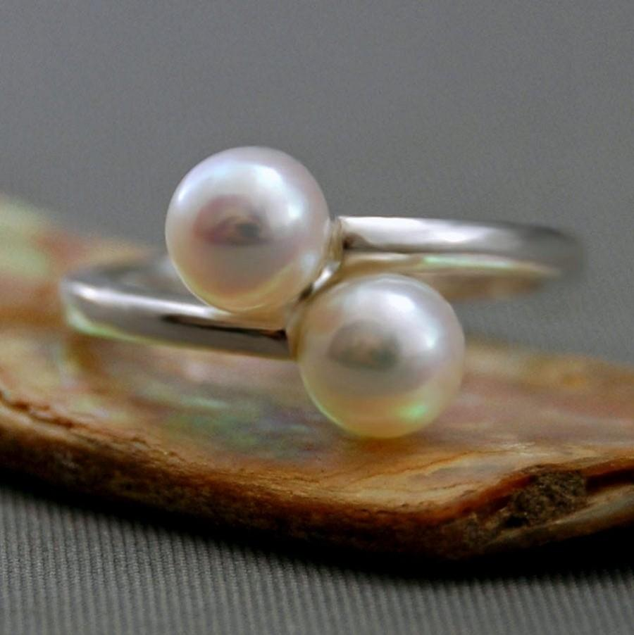 Mariage - Amisa - Double Pearl Promise or Engagement Ring set in Continuum® Silver, FREE SHIP US