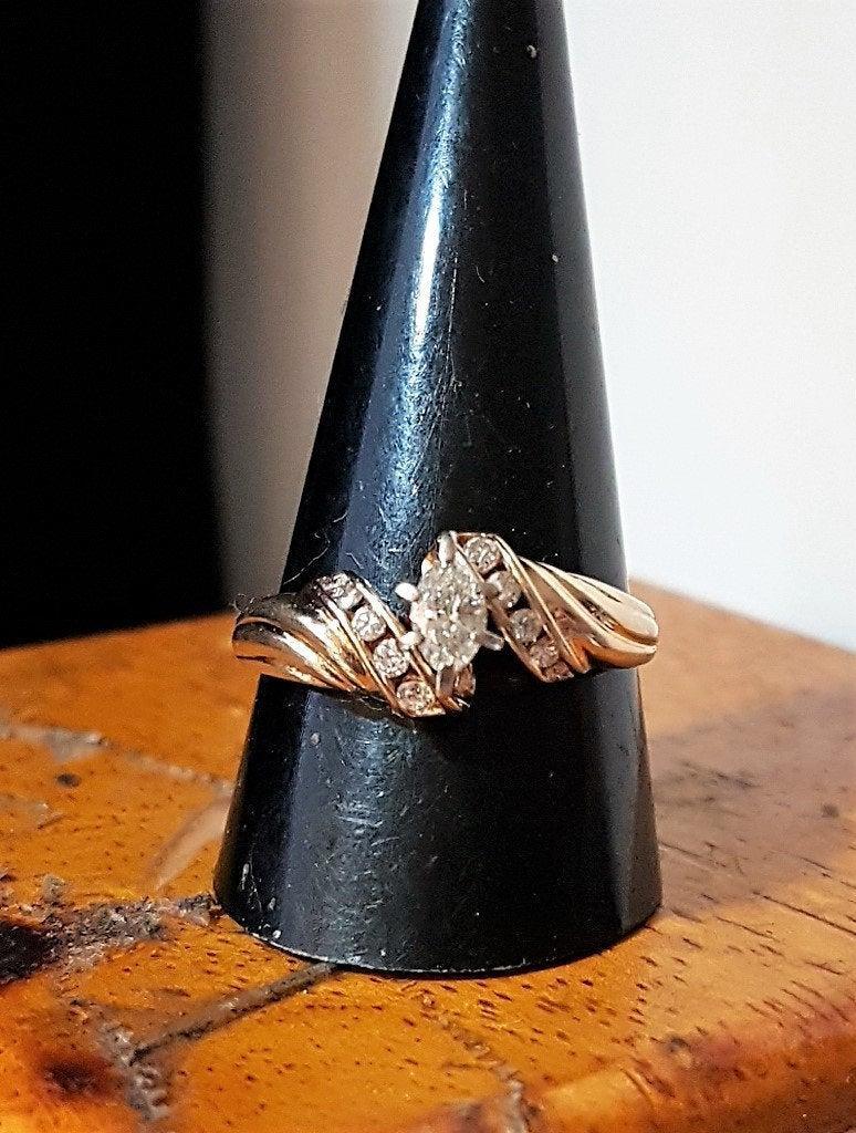 Mariage - 14K .50 Ctw Diamond Engagement Ring Art Deco JR Woods & Sons Sz 10 VS2-Si1 3.4Gr