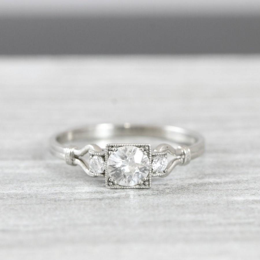 Mariage - White sapphire and diamond engagement ring handmade in 14 carat gold art deco inspired