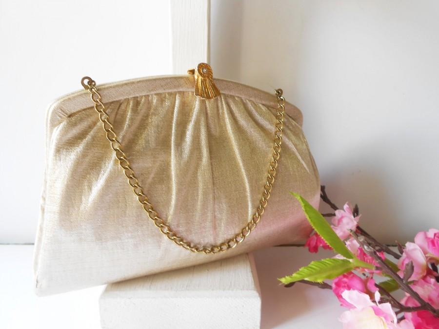 Mariage - Vintage Gold Evening Bag, Glamorous Gold Lame' Handbag EB-0540
