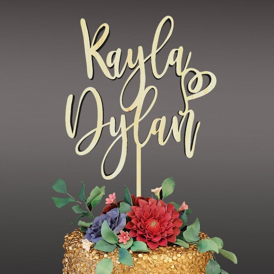 Свадьба - personalized wedding cake topper, wooden cake topper, wedding cake decoration, cake topper first names - 18